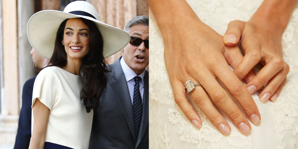 George Clooney presented his wife-to-be with a seven-carat emerald-cut diamond set in platinum.