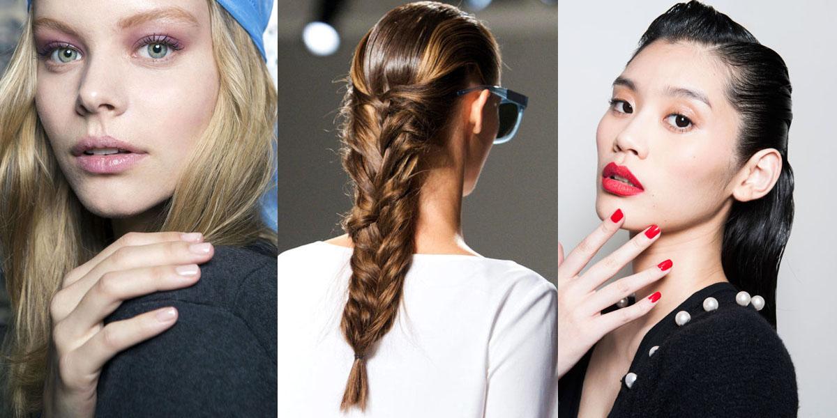 spring 2015 runway beauty hair makeup and nails from
