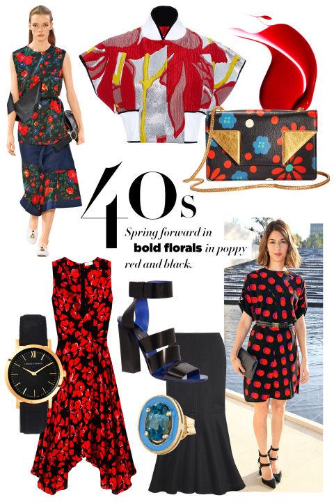 Marni jacket, $1,390, 212-257-6907;Dolce & Gabbana Intense Colour Gloss in Ruby, $31, saksfifthavenue.com; Saint Laurent by Hedi Slimane bag, $1,850, 212-980-2970;Proenza Schouler sandal, $995,proenzaschouler.com;Alison Lou earring, $350,twistonline.com;Kenzo skirt, openingceremony.us;A.L.C. dress, $625, similar styles available at shopBAZAAR.com.
