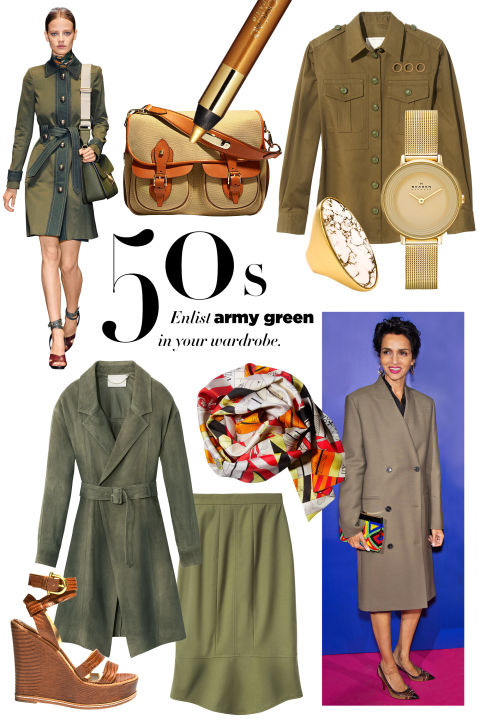 Ralph Lauren Collection bag, $1,750, ralphlauren.com; L'Oreal Paris Infallible Silkissime Eyeliner in Gold, $6.99, drugstore.com; Jason Wu coat, $5,395, jasonwustudio.com; Skagen watch, $155, skagen.com; Hermès scarf, $335, 800-441-4488; Stephanie Kantis ring, $495, stephaniekantis.com; Marc Jacobs shirt, $995, marcjacobs.com; Etienne Aigner sandal, $345, etienneaigner.com; Hellessy skirt, $650, Barneys New York; 888-8-BARNEYS.