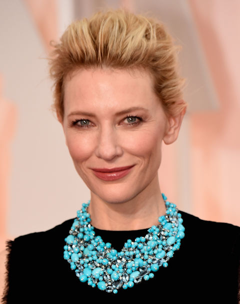 Cate Blanchett opted for a simple black dress, and a super statement Tiffany & Co. turquoise necklace.
