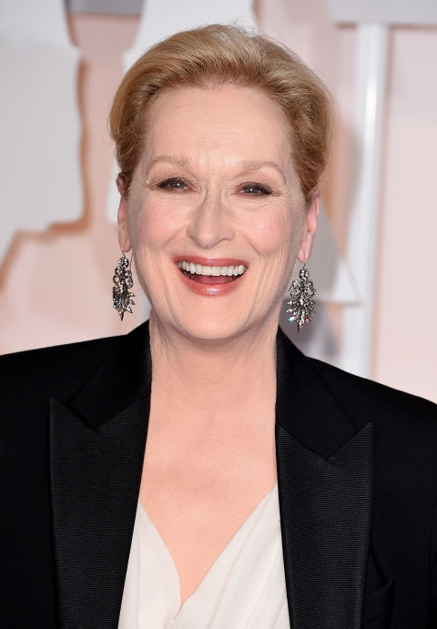 Meryl Streep's dazzling Fred Leighton earrings were the perfect compliment to her custom Lanvin tuxedo.