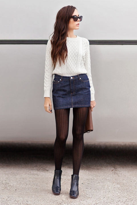 Jean skirt with tights – Modern skirts blog for you