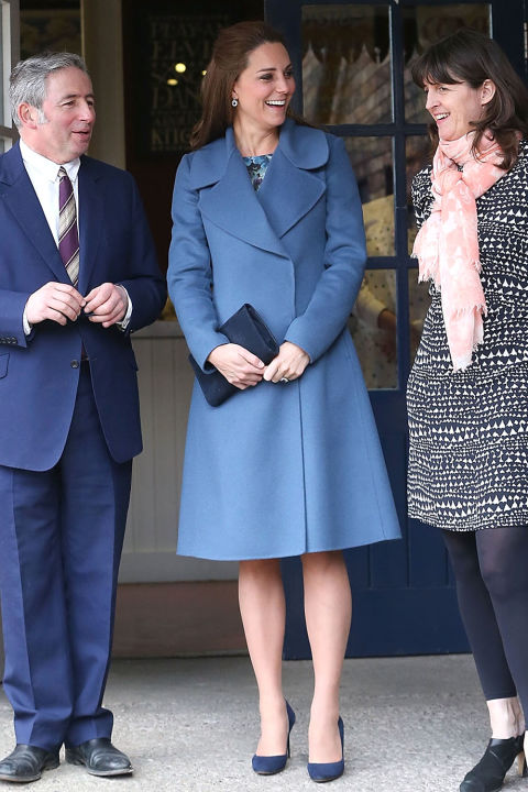 What: Max Mara coat and Seraphine dress When: February 18 Where: The Emma Bridgewater pottery factory in Stoke-on-Trent, England