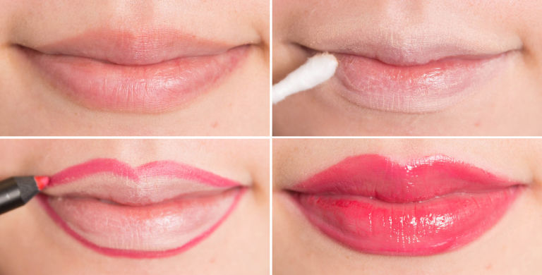 увеличение губ с помощью помады