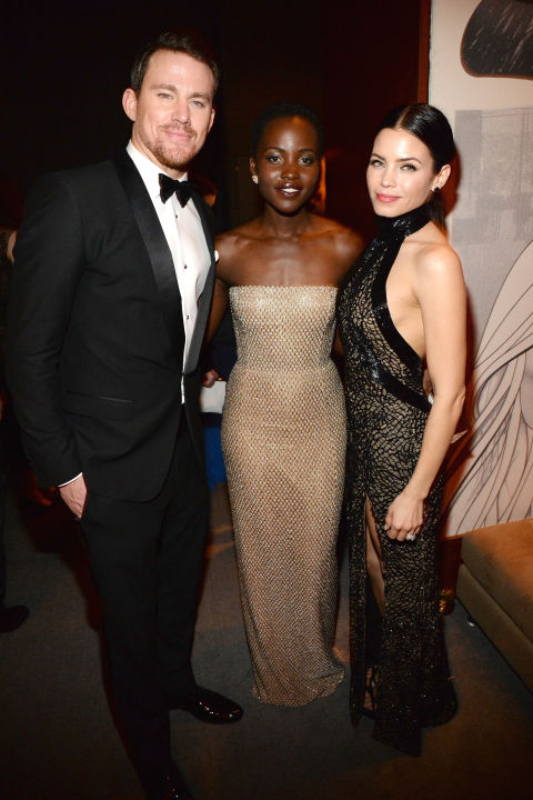 Channing Tatum, Lupita Nyong'o in Calvin Klein Collection and Jenna Dewan Tatum in Zuhair Murad