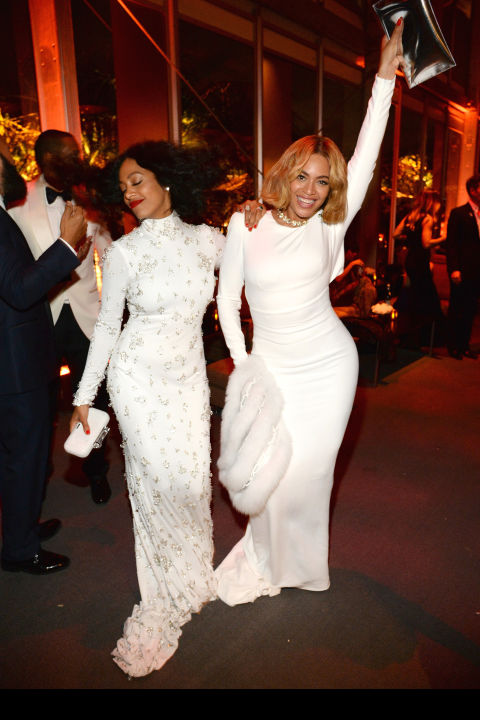 Solange Knowles in Naeem Khan and Beyonce Knowles in Stella McCartney