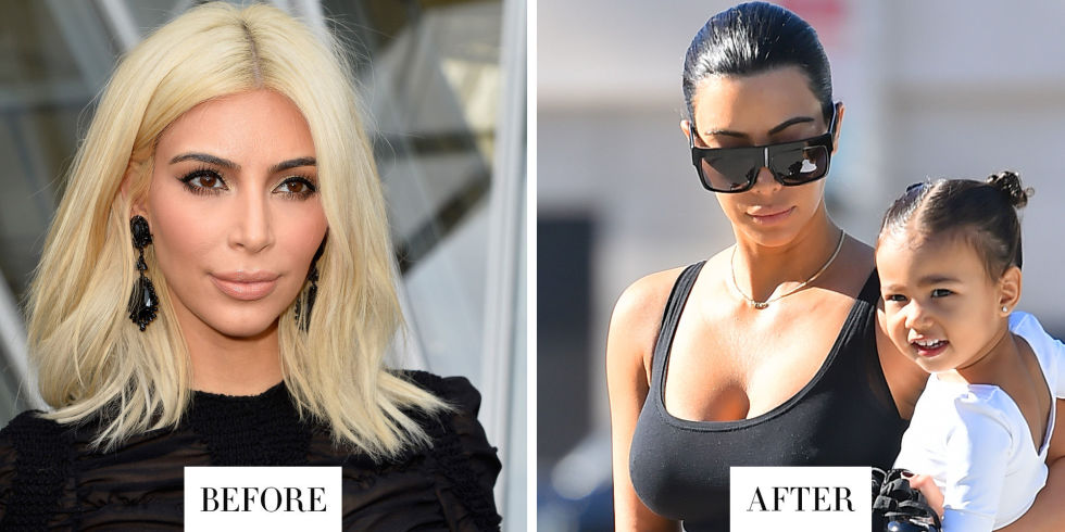When: March 2015 What: Black Hair Why we love it: After a mere two weeks, Kim has ditched her platinum hair and returned to her natural black color, which she wore pulled back in a sleek bun. Blonde was fun, but we knew it wouldn't last.