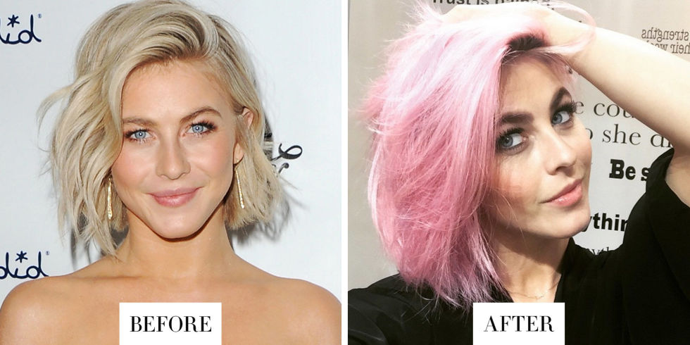 """When: April 2015 What: Pink Hair Why we love it: The singer/dancer showed off pink, """"unicorn"""" hair, courtesy of colorist Riawna Capri, on Instagram today. The pastel shade looks go-go girl chic with a bob."""