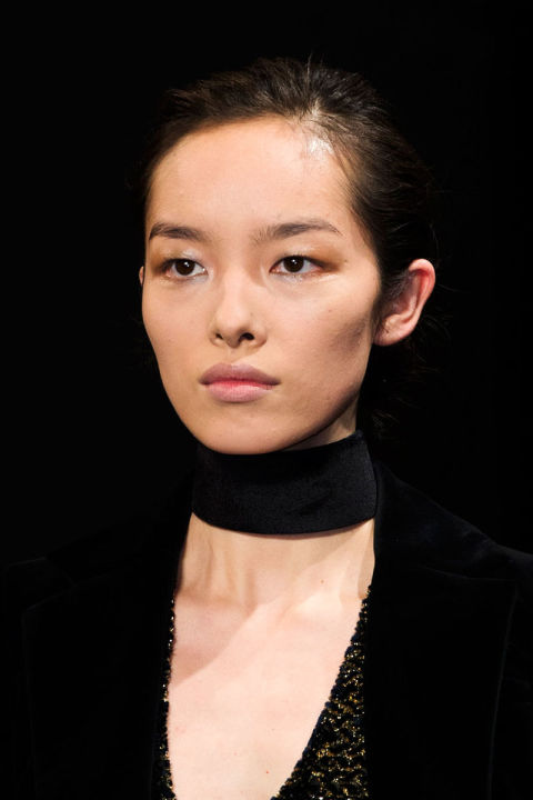 The chokers hitting the catwalks eschewed any association with delicacy. These necklaces are linear and strong, statement makers of the pared down variety. Pictured: Altuzarra