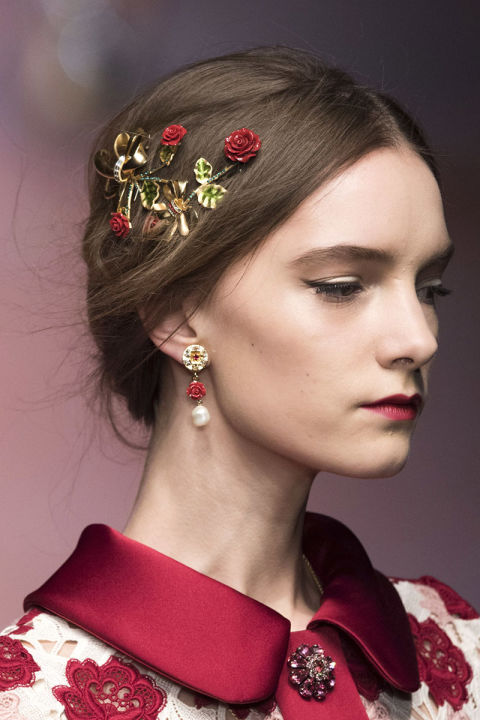 When asked how does your garden grow? The simplest answer would be everywhere. The floral story has found its way to fall with romanticized roses, peonies and camellias.Pictured: Dolce & Gabbana