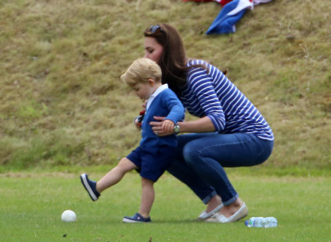 prince george and kate middleton at charity polo match