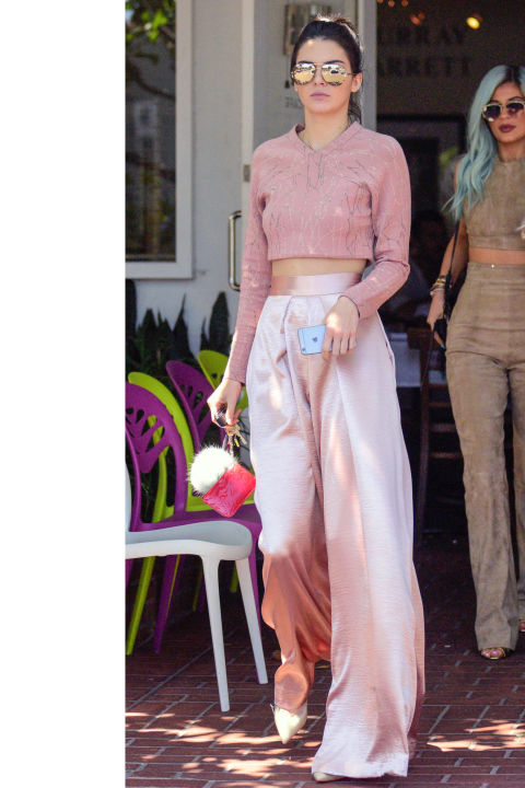 In West Hollywood, wearing a pale pink Jonathan Simkhai crop top and wide leg pants with Sophia Webster pumps.