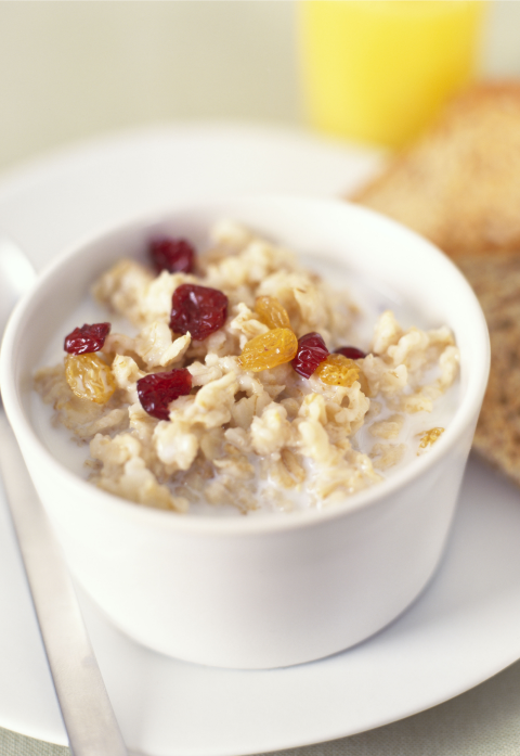 "Oatmeal has a reputation for being a warm, snuggly comfort food — which means when you start dieting and cutting out carbs, it's the first to go. But registered dietitian and Los Angeles-based entertainment nutritionist Shira Lenchewski, M.S., says she's a huge advocate of oatmeal. She explains that its complex carbs (aka the ""good"" carbs) not only fill you up, but they'll make you less likely to go overboard at lunch (or approach the vending machine before noon). Just make sure to steer clear of brands with added sweeteners and flavorings — instead, Lenchewski recommends using cinnamon, almond butter, or a teaspoon of coconut sugar for extra flavor.<br />"