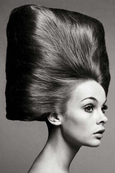 Hair by Alexandre, Paris, August 3, 1965. Photographed by Richard Avedon. The poster child for the youthquake movement coming out of London in the 1960s, Jean Shrimpton was to modeling what the Rolling Stones were to music. Before her, models had been statuesque, poised, and perfectly coiffed. But Jean was diminutive and gangly, her hair fringed and wild, and she was not afraid to wear the scandalous garment of the time: the miniskirt. Richard Avedon would go on to make some of the most memorable images to appear in Bazaar in the '60s with her. Avedon's portrait of Jean with her hair pulled back into a square-shaped beehive has practically become a required text for hairstyles since it was published in Bazaar in 1965.