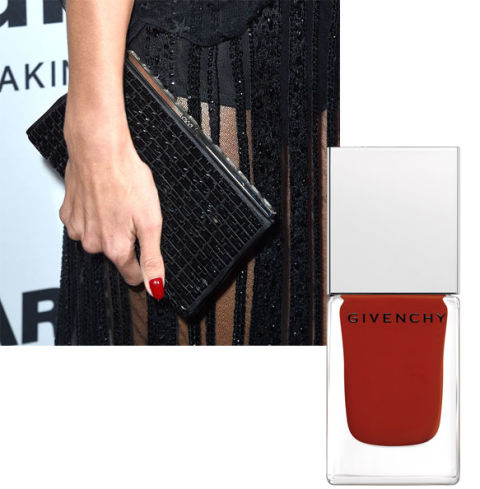 Alessandra Ambrosio; Givenchy Le Vernis in Rouge Acajou, $22, barneys.com.