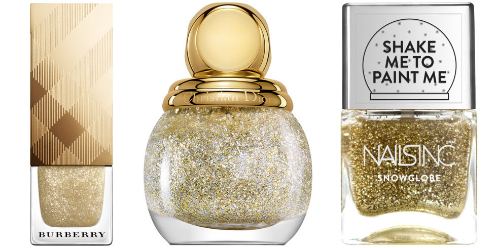Burberry Nail Polish in Festive Gold, $22, us.burberry.com; Dior Diorific Vernis in State of Gold, $28, dior.com; Nails Inc. Snowglobe in New Globe Walk, $18, net-a-porter.com.