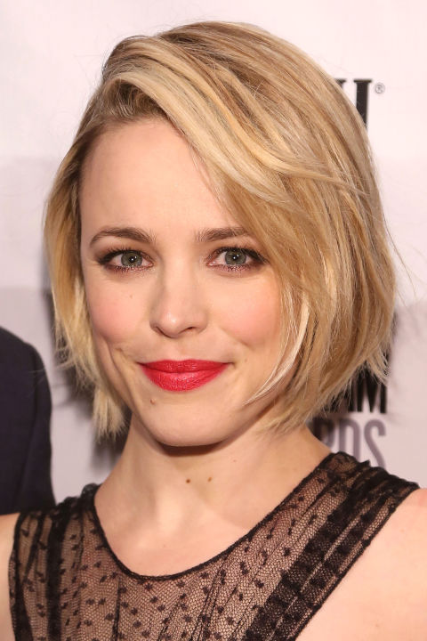 Bobs—we love 'em, but they're tricky to get just right (read: not at all matronly). If you have fine to medium hair, take McAdams' lead and ask for subtle layers and thinned, piece-y ends that look good blown-out around your face or softly flipped out.