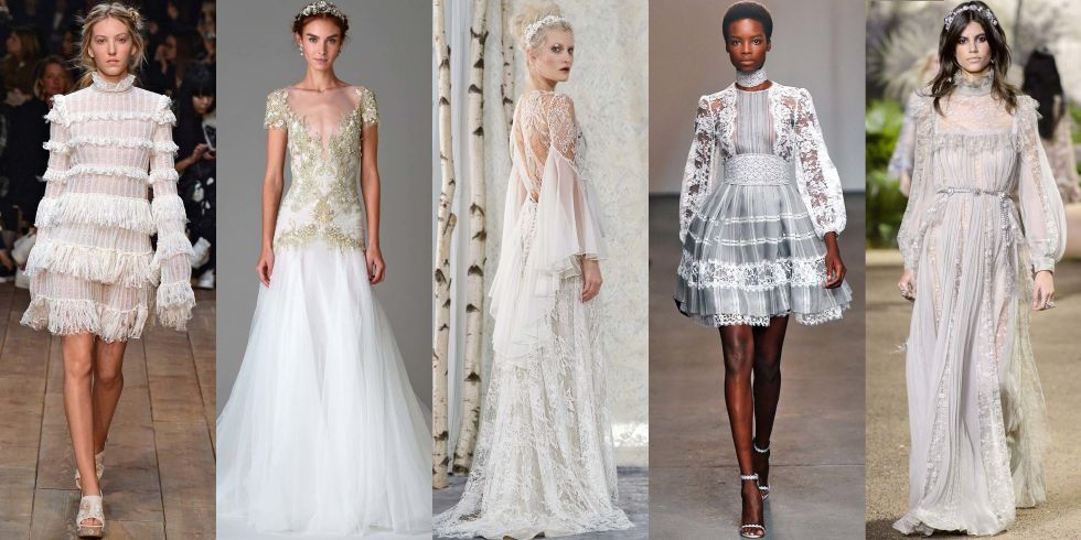 Loads of gossamer lace, mock necklines, empire waistlines, gilded embroidery and blouson sleeves are telltale signs that you're doing this look justice. Embellishments like ruffles, soft tiers and floral motifs are par for the course when channeling today's version of old-school royalty.Alexander McQueen Spring 2016; Marchesa Bridal Fall 2016; Elizabeth Fillmore Bridal Fall 2016; Zimmermann Spring 2016; Elie Saab Haute Couture Spring 2016.