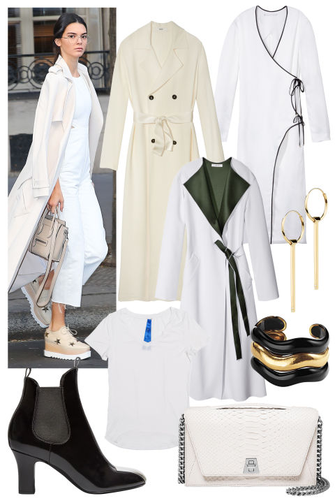 Navigate the changing seasons in an effortless layering piece: the long jacket. Take your cuefrom Kendall Jenner with a monochromatic ensembleand standout accessories.From left, clockwise: Bally coat, $2,795, 212-751-9082; Rosetta Getty coat, $1,980, 510-658-6906; Adeam coat, $1,380, shopBAZAAR.com; Maria Black earrings, $175 each, net-a-porter.com; Belperron cuffs, $11,500-$17,500, 212-702-9040; Akris bag, $3,590, 877-700-1922; Louis Vuitton boot, price upon request, 866-VUITTON; Kit and Ace T-shirt, $78. kitandace.com.
