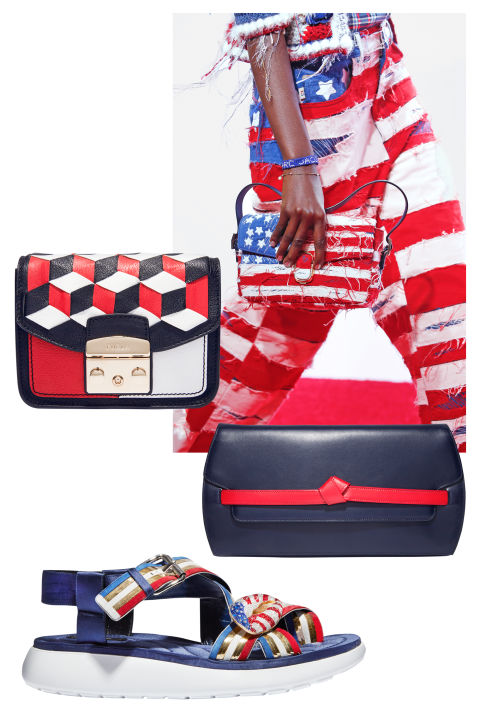 Don't wait for the Olympics to show your national pride. This season, designers, led by Marc Jacobs, were seeing red, white, and blue, with patriotic themes taking over everything from athletic sandals to evening bags.From top: Furla bag, $448, shopBAZAAR.com; Giorgio Armani clutch, $2,475, 212-988-9191; Marc Jacobs sandal, $3,795, 212-343-1490.