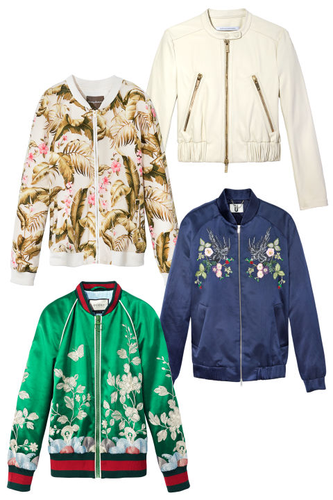 From left, clockwise: Tommy Bahama jacket, $198, tommybahama.com; Diane von Furstenberg jacket, $998, dvf.com; Topshop Unique jacket, $1,200, topshop.com; Gucci jacket, $3,500, shopBAZAAR.com.