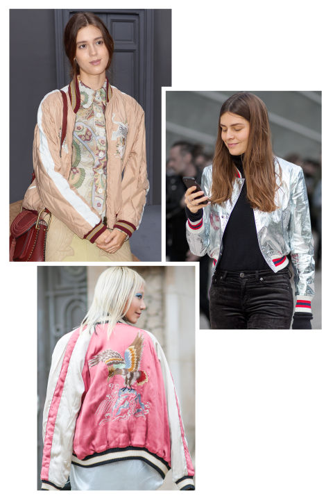 Hit the pavement in the outerwear item of choice for models off-duty: the slouchy bomber jacket. Playup the retro feel with vintage-inspired prints. Start with bold colors and layer over a T-shirt and skinny jeans.