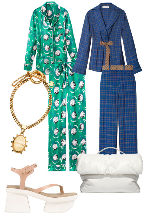 From left, clockwise: Olivia von Halle, pajama set, $550, shopBAZAAR.com; Misha Nonoo, blouse, $425, and pants, $425, mishanonoo.com; Céline bag, $3,900. 212-535-3703; Stella McCartney sandal, $1,095, shopBAZAAR.com; Chloé bracelet, price upon request, 212-717-8220.