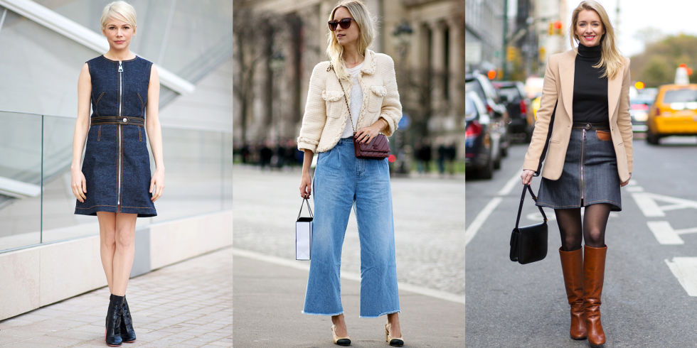 We all love our denim, but it can make for an easy rut when all you wear is your standard skinnies everyday. Go beyond the basics and embrace new varietals of blue jean, like a dress or of-the-moment A-line skirt.