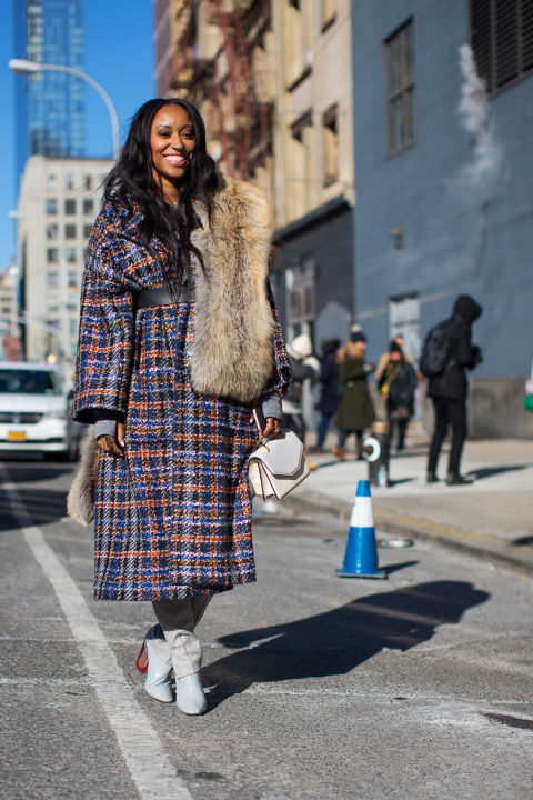 Shiona Turini in Chanel coat and Dior boots.