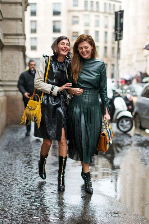Giovanna Battaglia and Sara Battaglia, wearing a Salvatore Ferragamo top & skirt