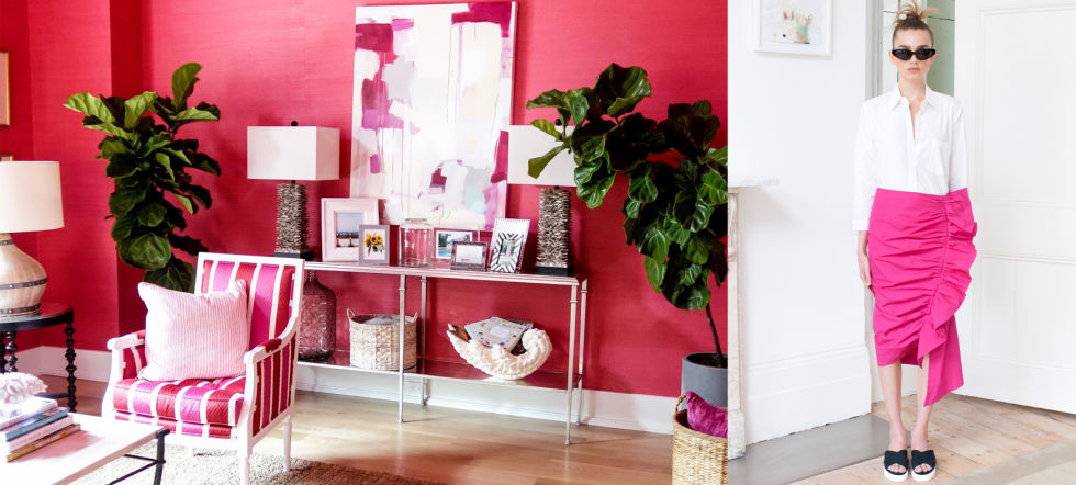Hot pink and bright citrus hues are all the rage right now. Designers in fashion and interiors alike use them to make a statement in a big way. Brian Patrick Flynn paints an entire room in this rich rosy pink, where Isa Arfen uses a similar color in a major look from his spring collection.