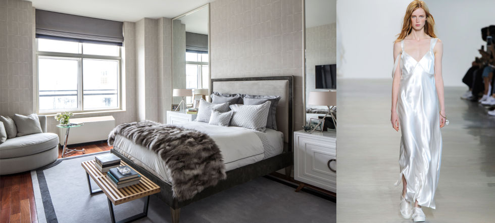 When I was working on this bedroom with my client, they wanted a serene, beautiful, dreamy space to relax in. We decided to use tonal greys and whites for a calm, clean look. Calvin Klein's collection is a great example of the lingerie trend that achieves a similar feeling of sensuality and flow.