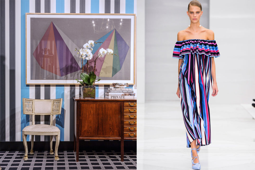 Stripes just keep getting better and better. This beautiful multi-colored striped dress by Ferragamo is a show stopper and gives off a playful summer vibe. Stripes work the same way in a room, and this Farrow & Ball wallpaper is the ultimate eye-opener.