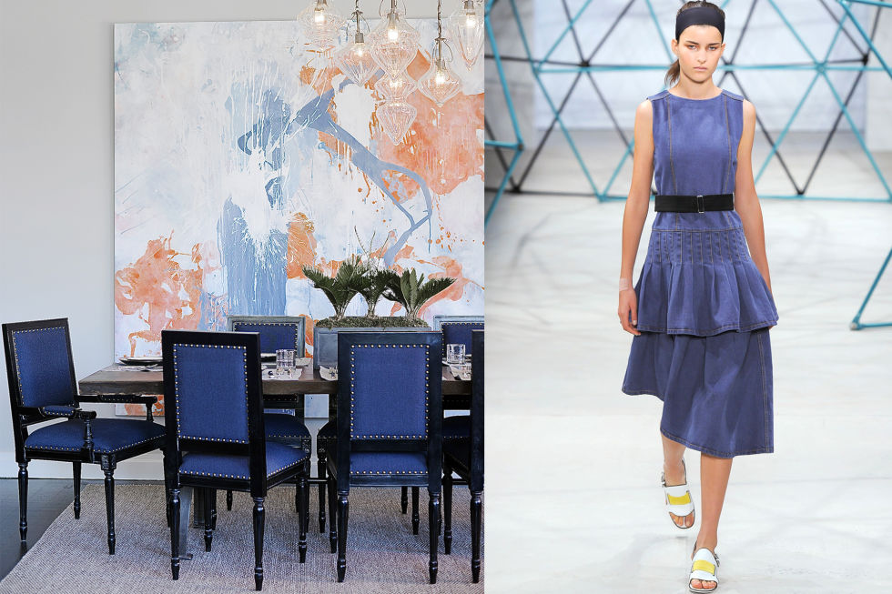 Denim is a comfortable fabric that can make a home feel just as good as putting on your favorite pair of jeans. Sleek, refined denim looks are trending in all forms from dresses to chairs. Try working denim into your home with smaller, upholstered pieces, like these dining chairs, or simply with denim throw pillows.