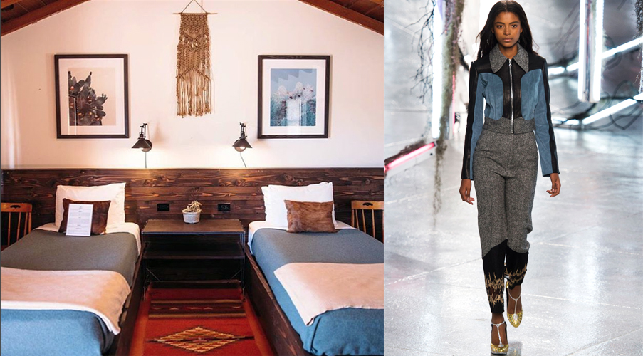 The hip Pioneertown Motel in Pioneertown, California shows off the western trend that a lot of designers did so well, like these sleek separates with touches of denim from Alberta Ferretti. Art in the form of a suede woven wall hanging, a Navajo-inspired rug and reclaimed wood wall paneling come together in a sophisticated nod to the Wild West.
