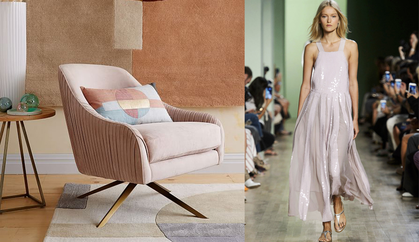Fine pleating in both clothes and furniture gives off vibes of romanticism and simplicity. This pleated blush-colored chair from West Elm gives similar feelings of sweet effortlessness, as does this beautiful dress from Tibi's spring collection.