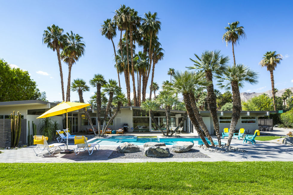 This three-bedroom property in Rancho Mirage dates back to the 1960's and was originally designed by famed architect Donald Wexler. The home has been slowly and carefully modernized over time to include a firepit and some much needed air conditioning, but it's original fireplace and mid-century décor still remain, complete with an Eames lounger and Jeff Koons sculpture. This address is ideal for a couples share, with queen beds in every room, a large poolside and outdoor dining area and access to the area's famous golf courses for guys and girls days out. For an extra fee, a daily chef, housekeeper, butler, babysitting service and at-home spa services can be provided. From $995 per night.