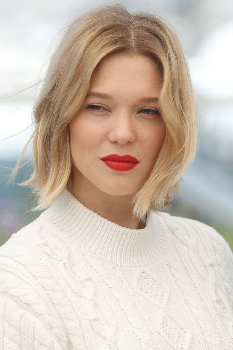 Lea Seydoux gives French Girl Chic with her minimally styled locks parted down the center.<br />