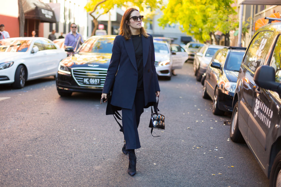 Kym Ellery dons a suit of her own design—proving the classic power suit isn't the only option out there.