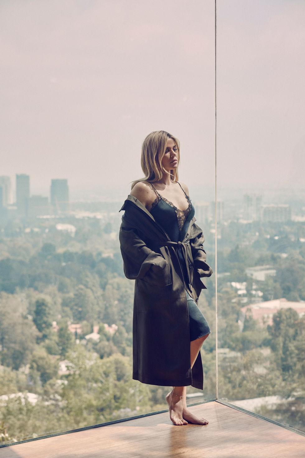 Tom Ford trench coat, tomford.com; Kiki de Montparnasse slip dress, barneys.com.