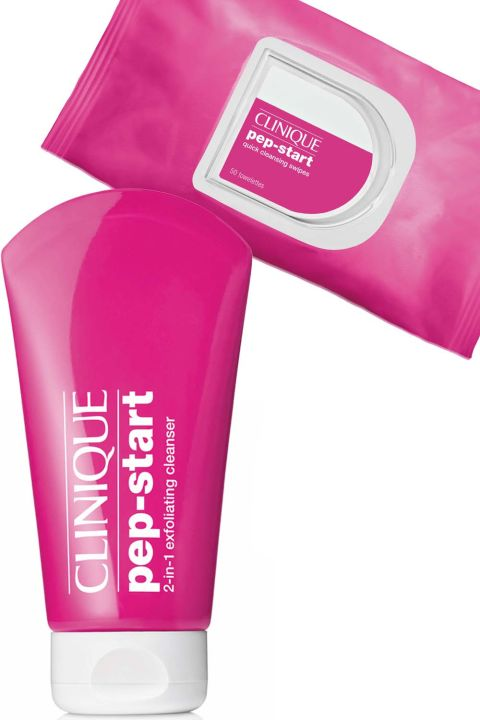 Start by removing your makeup with the wipes, then follow up with the exfoliating cleanser to ensure your skin is squeaky clean.