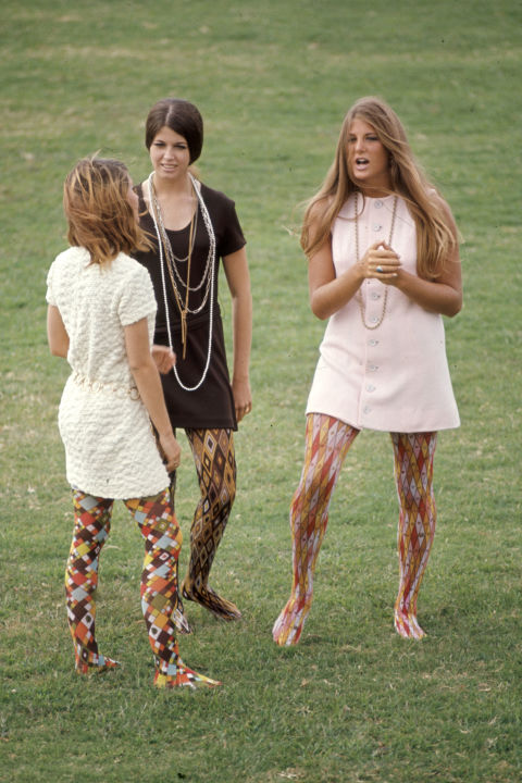 Whoever thought that multi-colored, multi-patterned tights would flatter ANY HUMAN'S legs was seriously mistaken.