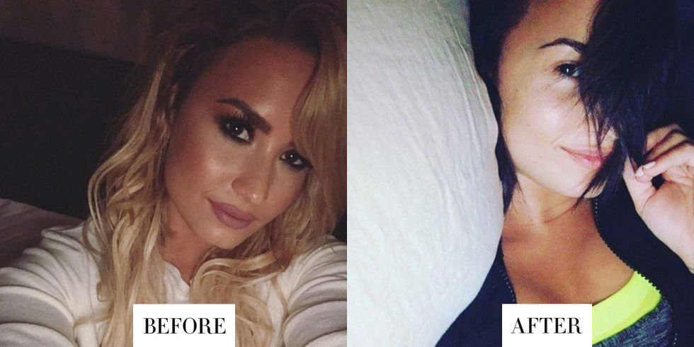 When: October 21, 2016 What:Brunette hair Why we love it:Demi Lovatowent blonde for less than a week before dying her hair back to brunette. She looks great with any hair color, but we have a soft spot for her naturally dark locks.