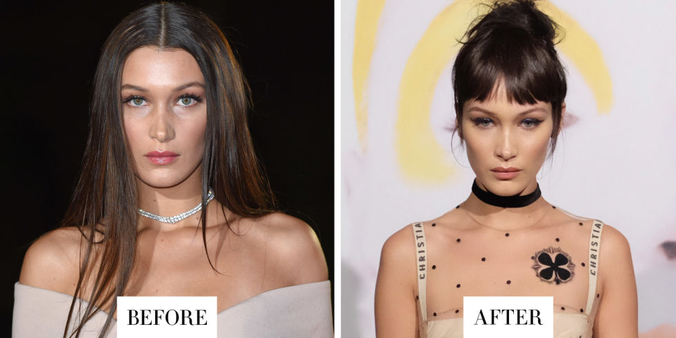 When:October 26, 2016 What:Wispy Bangs Why we love it: Bella Hadid traded in her usually sleek locks for a new look last night: blunt bangs and a topknot reminiscent of the hair look at the Christian Dior spring 2017 show. Which makes sense, since she was attending a celebration for the brand's new book The Art of Color and wearing a dress fresh off the runway. So are these the real deal? No—they're likely the work of some clip-in fringe if we've learned anything from watching her sister Gigi.