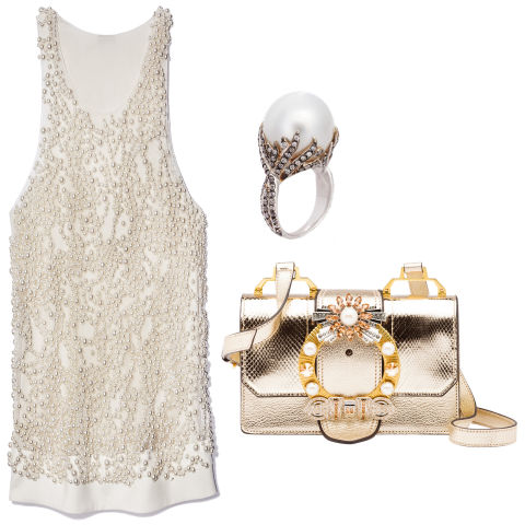 From left, clockwise: Vera Wang Collection dress, $2,495, 323-602-0174; Sidney Garber ring, $9,200, 312-944-5225; Miu Miu bag, $2,360, miumiu.com.