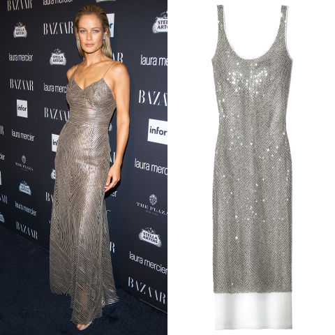 For the ultimate party ensemble, a metallic slipdress in a slinky silhouette à la Carolyn Murphy is sure to turn heads for the holidays.Dennis Basso dress, $6,500, 212-794-4500.