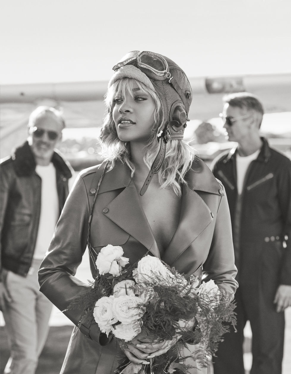 rihanna poses as amelia earhart rihanna channels amelia earhart tod s coat 6 200 212 644 5945