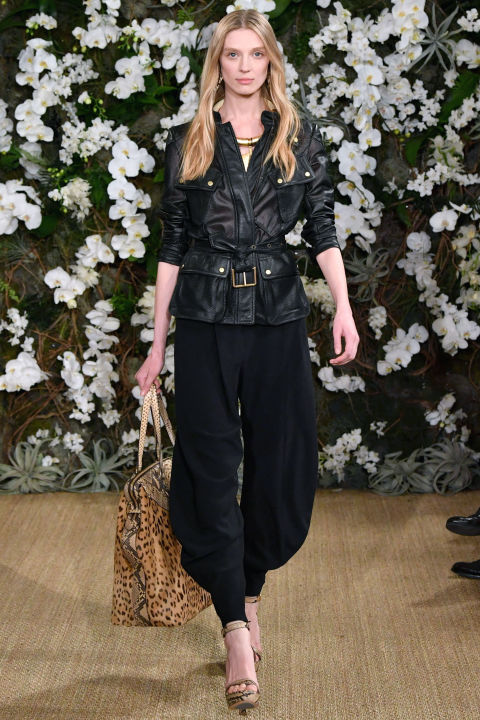 There's always an element of leather and denim chez Ralph, this time seen in sexy motorcycle pants, a jumpsuit and a great belted jacket worn with harem pants—all black-on-black.