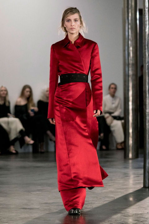 The Olsens put to rest long ago any whispers of The Row being a flash in the celebrity designer pan. And fall was a continuing education in their brand's trajectory, especially as they embraced bolder color for the first time with a single red puff coat and skirt.